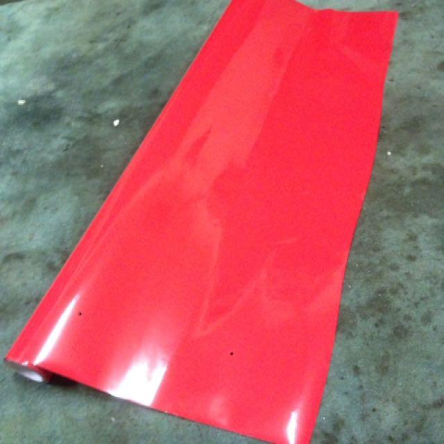 Red vinyl car wrap 8m