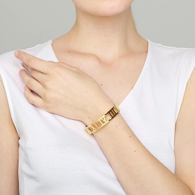 Roman Numeral Bangle Bracelet in Gold, Rose Gold, or Silver
