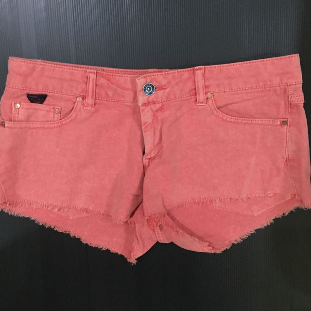 Short jeans orange pink Pull and Bear celana pendek