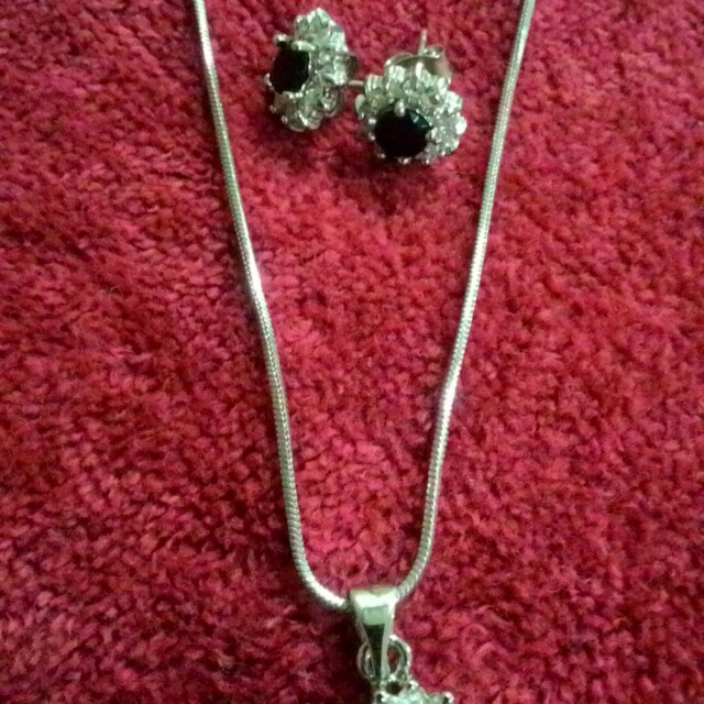 Silver earrings and necklace