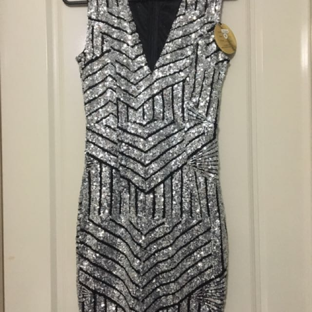 Skin Tight Silver And Black Dress