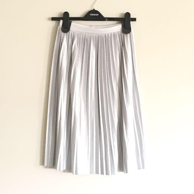 TOPSHOP PETITE pale blue Pleated Midi Skirt