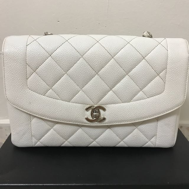 f284a98d83b7 Vintage Chanel white classic Diana flap bag, Luxury, Bags & Wallets on  Carousell