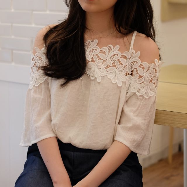White Lace Sabrina Tops
