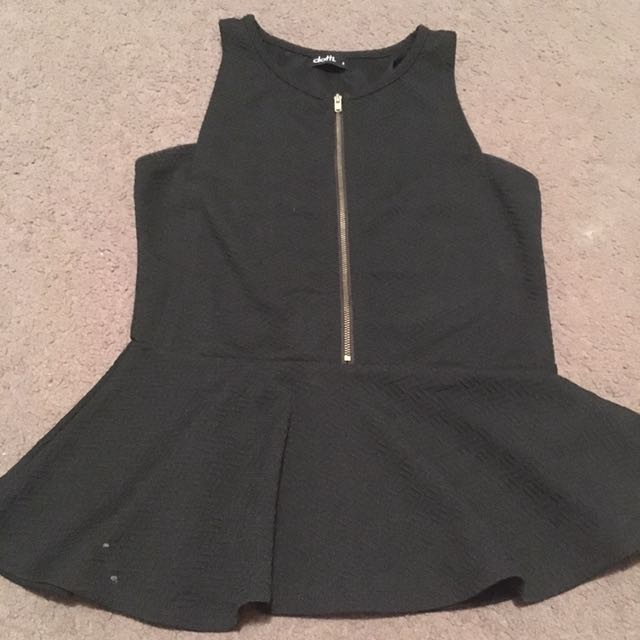 Women's black peplum zip top- size s dotti