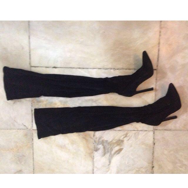 Zara thigh-high suede boots