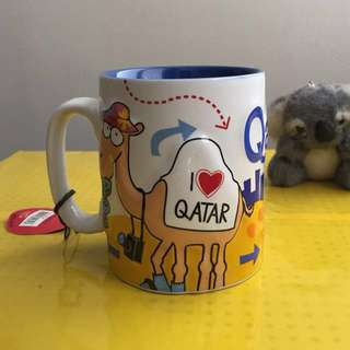 Souvenir Mug from Qatar embossed with free souvenir koala keychain from Australia