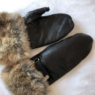 Rudsak Leather & Fur mittens