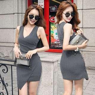 Stripes OL office bodycon shift dress