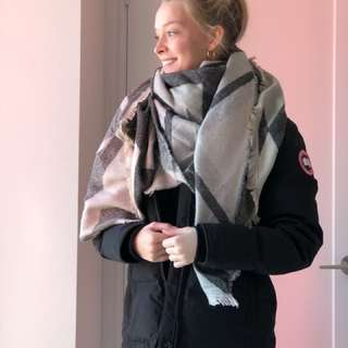 Warm soft neutral blanket scarf