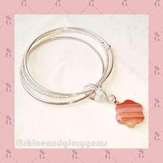 Gelang bangle simpel warna silver dg batu agate strip asli oranye bentuk bunga
