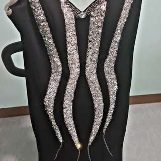 Long gown/ black and silver -isang beses lang nagamit 3k orginal price
