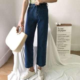 韓版女裝 高腰直筒牛仔寬褲