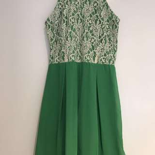 Green /creamLace Bodice Cocktail Dress