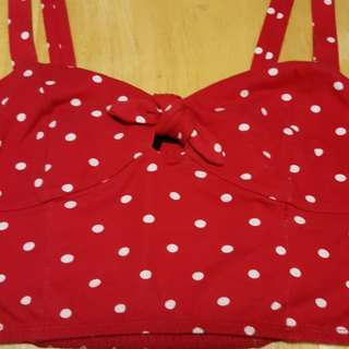 Red and white Polkadot Crop Top.