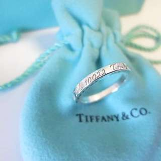 Tiffany & Co. Silver 727 Fifth Avenue New York Notes Ring - Size 5