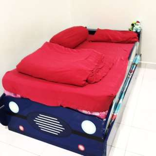 Kid Car Design Double Layer Single Bed ( Blue )