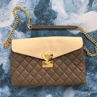 LOVE MOSCHINO envelope clutch or shoulder bag - nude & grey with gold chain