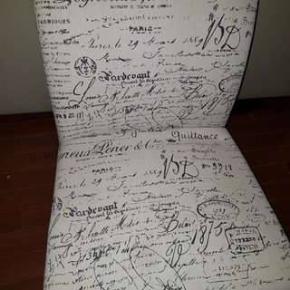 Cream whit black writing chair