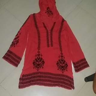 Free People Red Long Sleeves Dress With Hood