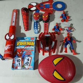 spiderman figures and assorted items