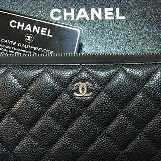 Chanel經典銀釦荔枝長夾