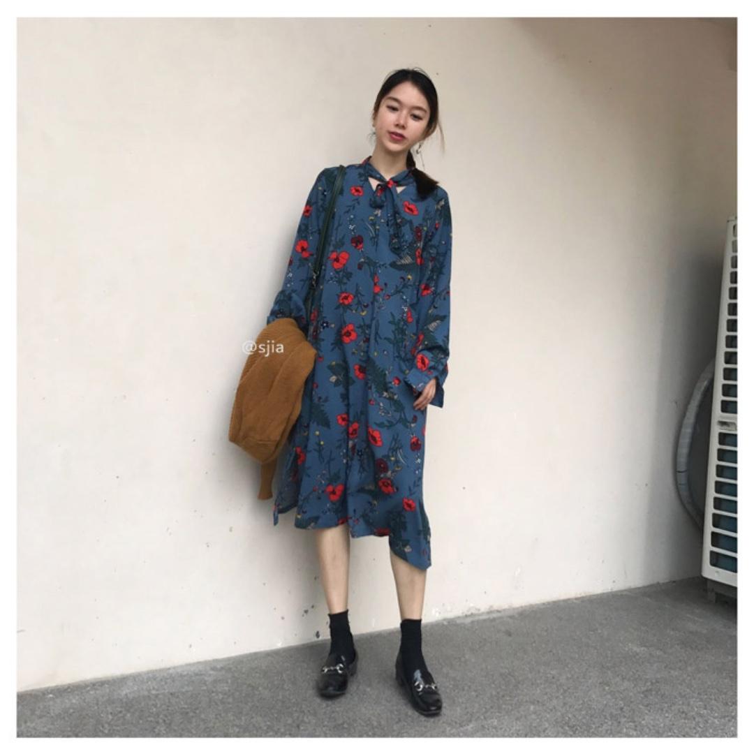 10/2  ᴡ ɪ ɴ 🎀 新款復古寬鬆顯瘦碎花長裙