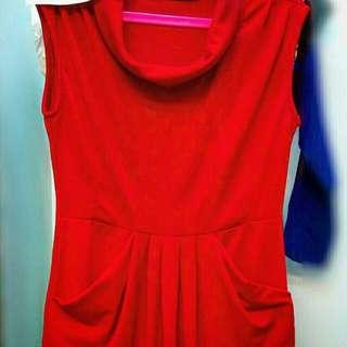 Dress Selutut Merah JREP