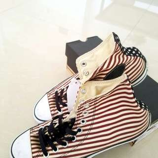 Converse All Star Red and White Stripes Hi-Cut