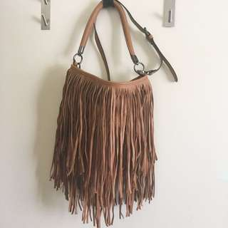 sportsgirl tan pleather fringed bohemian handbag with detachable strap