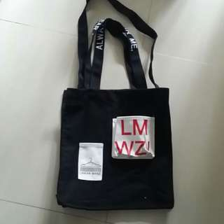 Cloth Bag Very Thick Fabric Black Medium Size With Sling