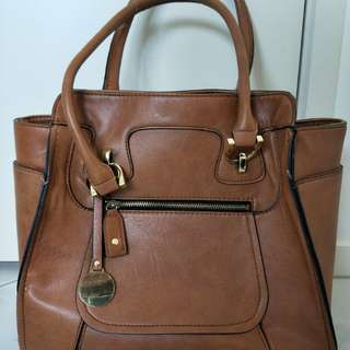 Tan faux leather bag