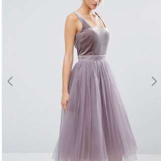 Asos* Velvet And Tulle Dress
