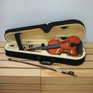 [免運費]原木製1/8 1/4 1/2 3/4小提琴 附琴盒、弓、松香、肩墊、套弦1套及E弦1條