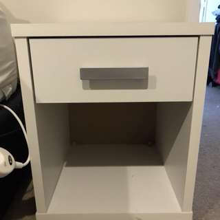 White One Draw Bedside Table Set