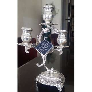 Antique vintage repro silver plated candle holder