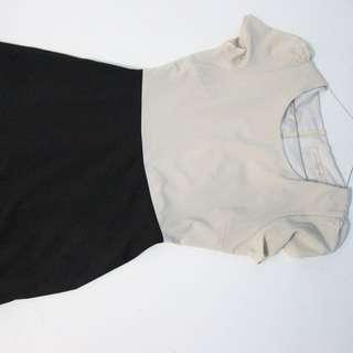 Dress formal kombinasi krem hitam