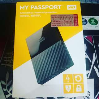 WD My Passport 4TB Hard disk 移動硬盤