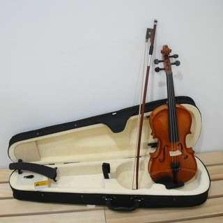 [免運費]原木製4/4小提琴 附琴盒、弓、松香、肩墊、套弦1套及E弦1條