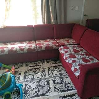 Red flower printed l shape couches