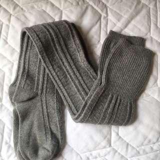 Gray warm winter over-knee socks