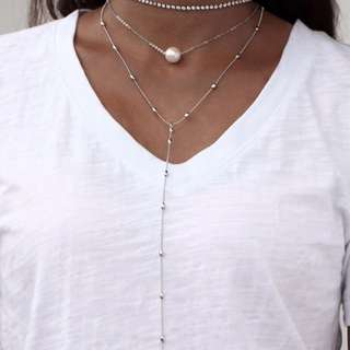 Multi layer necklace with pearl