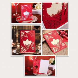 Wedding invitation with elegant design  (Groom and Bride - Red)