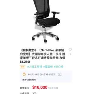 Nefil 進口人體工學功能椅,9成新。