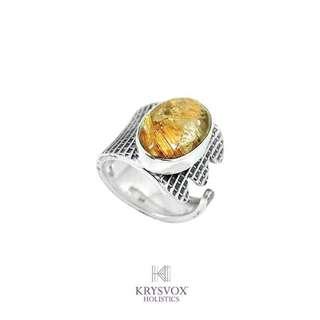 Golden Rutilated Quartz Adjustable Artisan Ring