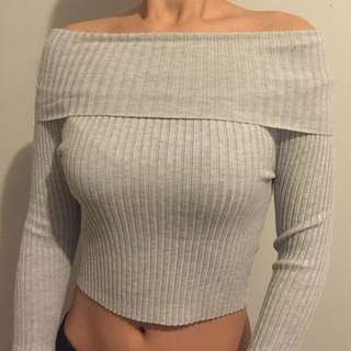 * reduced from $25* Grey Off-the-shoulder Cropped Shirt