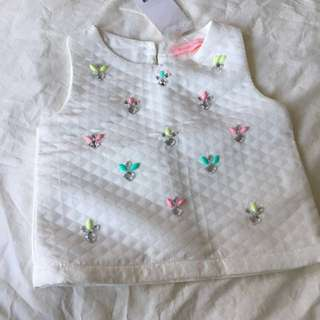Kids: Gingersnaps White Top with Beading