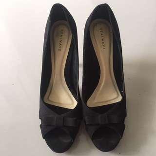 Heatwave black open toe heels