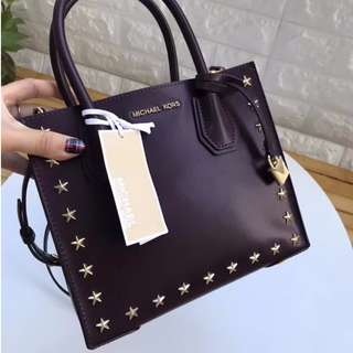 Authentic Michael Kors Mercer Leather Star Studded Tote