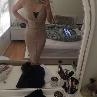 Nude slinky dress